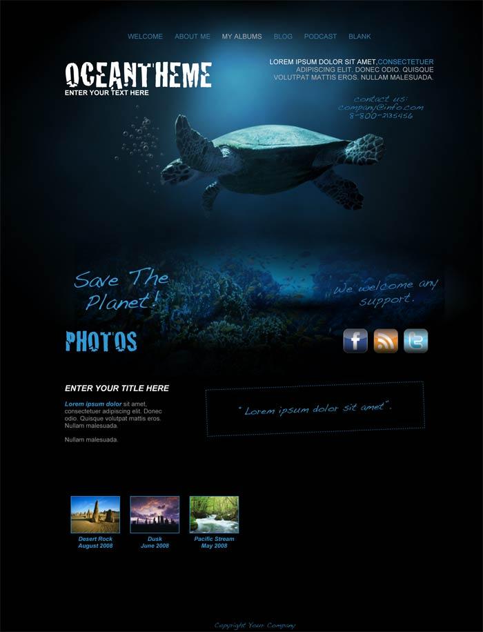 iweb ocean theme in iweb animal pet category