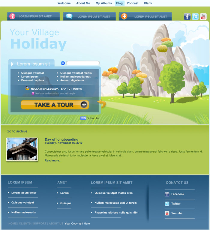 iweb village theme in iweb travel category